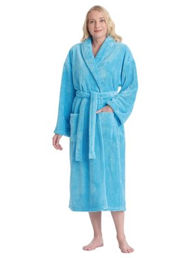 288acfd9de Product Image Women s Shawl Collar Satin Look Fleece Plush Robe Turkish  Bathrobe