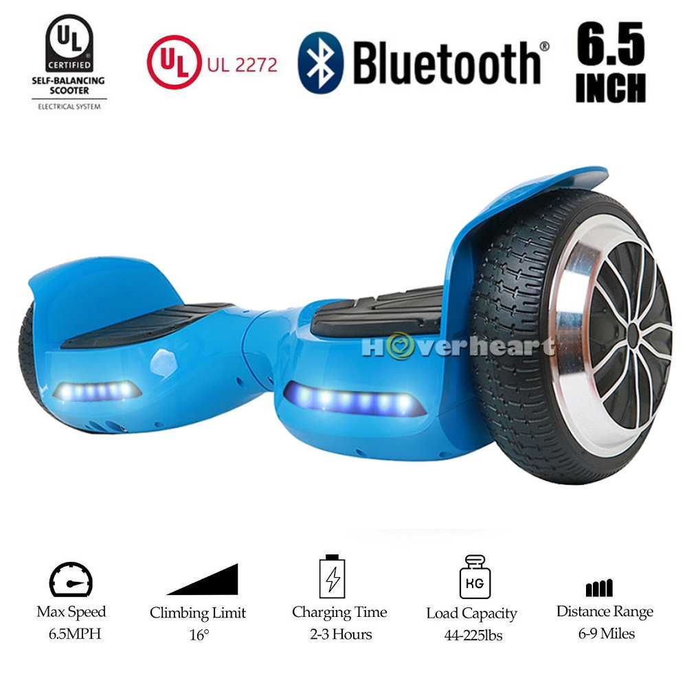UL 2272 Certificated 36V/2.2A 6.5 inch Bluetooth Hoverboard Two Wheel Electric Self Balancing Scooter Blue