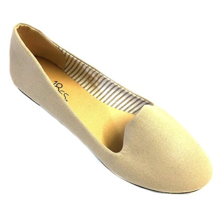 - Womens Canvas Loafer Smoking Shoes Flats 4024 Nude 5/6