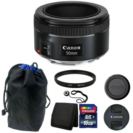 Canon EF 50mm f/1.8 STM Lens with Pouch +  16GB Top