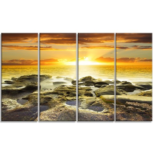 Design Art 'Beautiful Orange Sundown Beach' 4 Piece Photographic Print on Wrapped Canvas Set