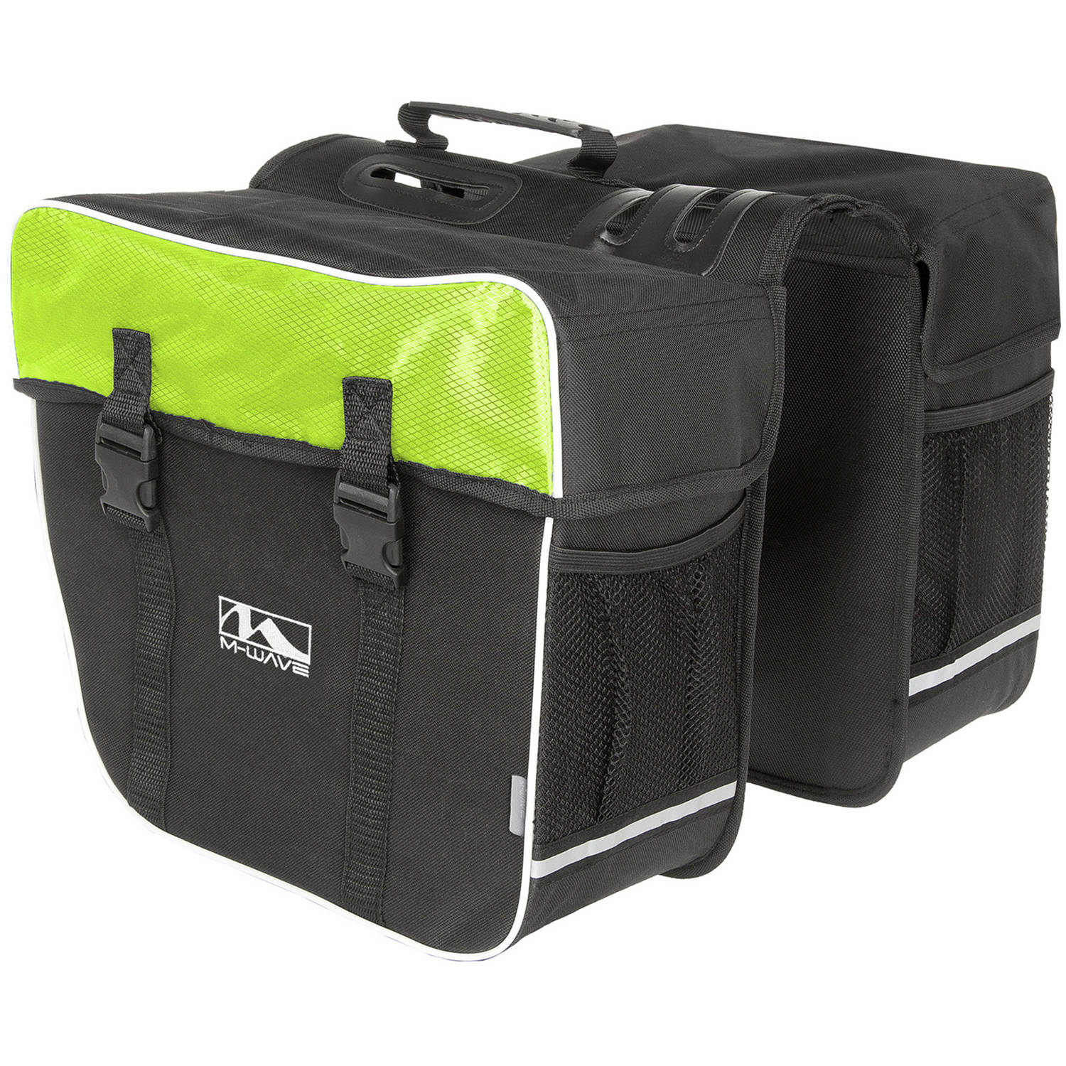 Amsterdam Double Bicycle Pannier Bag in Black/Green