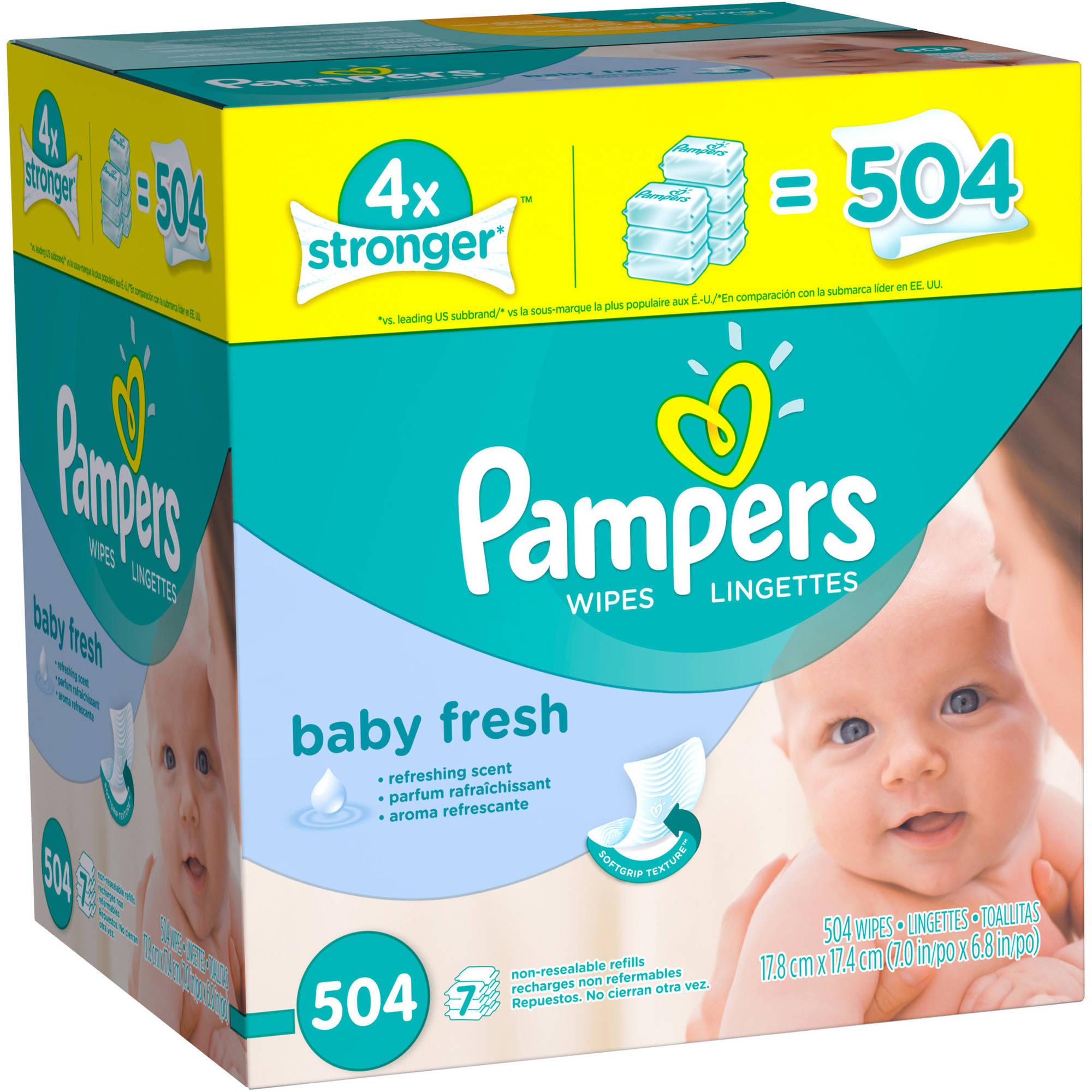Pampers Baby Fresh Wipes Refills, Scented, 7 Packs of 72 (504 count) by Pampers