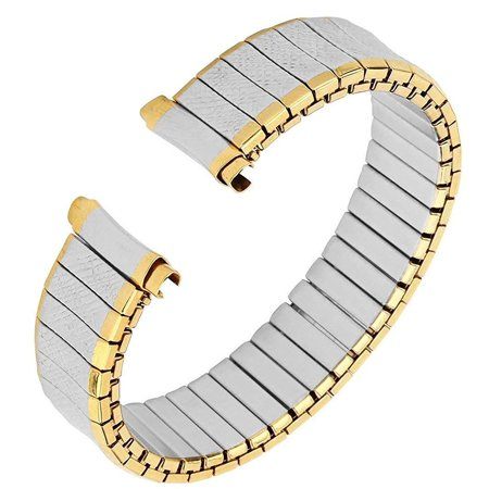 Men's Stainless Steel Stretch Watch Band, Flex Radial Expansion Replacement Strap, 16-19 mm, Straight End, No Clasp - Two Tone Gold & Silver - by United Watchbands (Freestyle Watch Band Replacement)