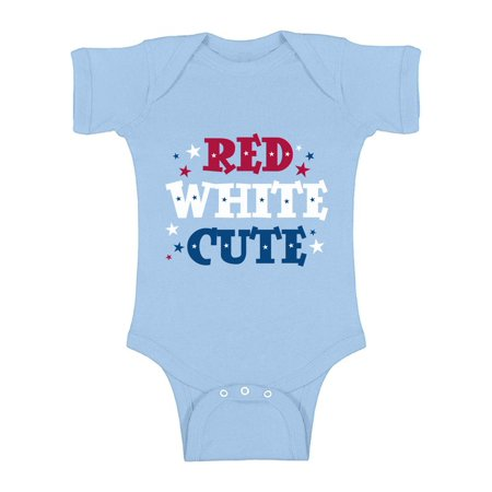 Awkward Styles Red White & Cute Baby Bodysuit Short Sleeve USA Stars One Piece Top American Baby Gifts Cute USA Outfit 4th of July One Piece for Baby Patriotic Gifts for Baby Independence Day Bodysuit](Cute Black And White Outfit Ideas)