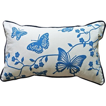 - decorative foaming printed butterfly throw pillow with piping cover 20x12 blue