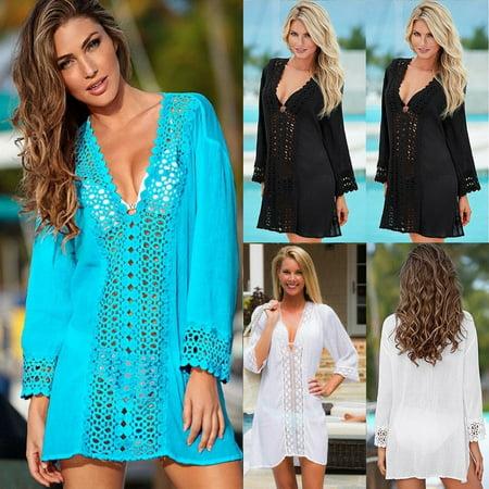Women Beach Bikini Cover up Top Swim Skirt Short Wrap Sarong Beachwear Sun Dress ()
