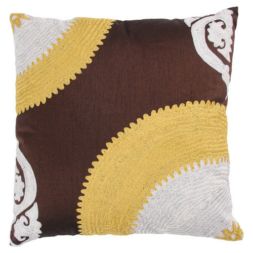 Rizzy Home T-3236 Decorative Pillows 18 by 18-Inch Brown/Yellow Set of 2