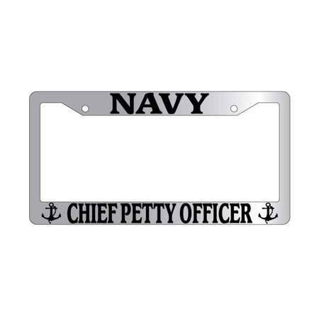 Chiefs Plastic License Plate - Navy Chief Petty Officer Chrome Plastic License Plate Frame