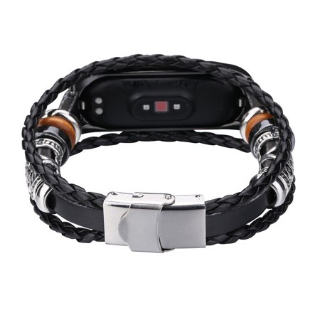 【LNCDIS】For Xiaomi Mi Band 4 Replacement Leather Beading Bracelet Strap Weave Braided