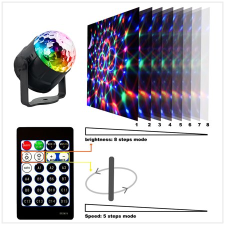 15 Colors Mode Sound Activated Party Lights Disco Ball Projector Home Stage Bar KTV Wedding Show Pub LED Mini Magic Ball Light with Remote Controller](Magic Show Decorations)