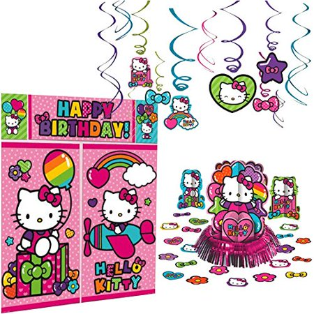 Hello Kitty Rainbow Decoration Party Supplies Pack Includes: Hanging Swirls, Scene Setter, and Table Decorating Kit - Hello Kitty Cake Kit