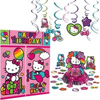 Hello Kitty Rainbow Decoration Party Supplies Pack Includes: Hanging Swirls, Scene Setter, and Table Decorating Kit