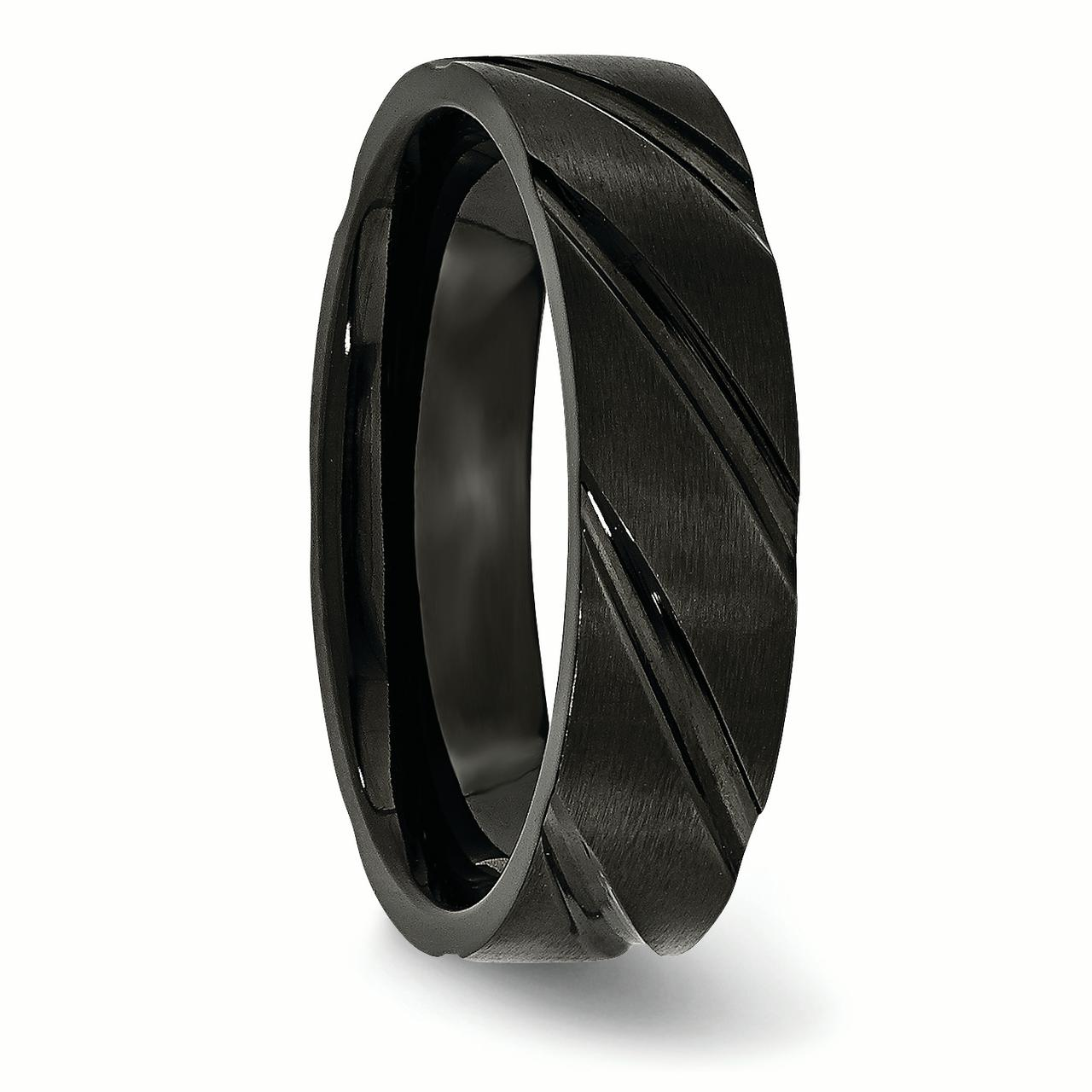 Titanium Swirl Design Black Plated 6mm Brushed/ Wedding Ring Band Size 13.00 Fancy Fashion Jewelry Gifts For Women For Her - image 2 of 6