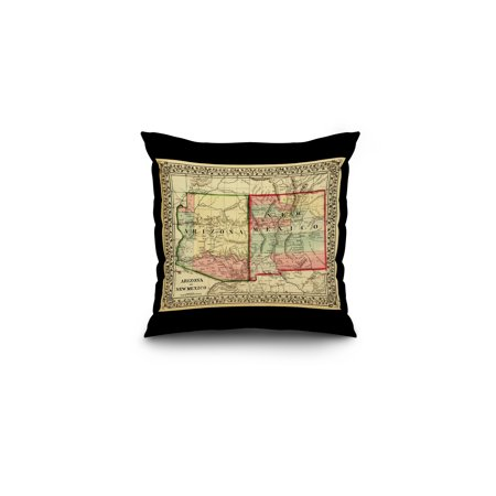 Arizona and New Mexico - (1867) - Panoramic Map (16x16 Spun Polyester Pillow, Black