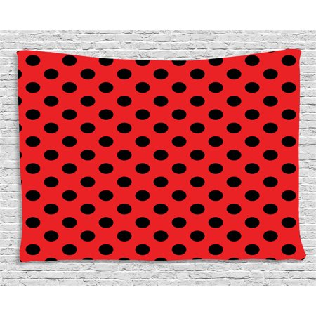 Red and Black Tapestry, Retro Vintage Pop Art Theme Old 60s 50s Rocker Inspired Bold Polka Dots Image, Wall Hanging for Bedroom Living Room Dorm Decor, 60W X 40L Inches, Scarlet, by Ambesonne - 50s Rocker