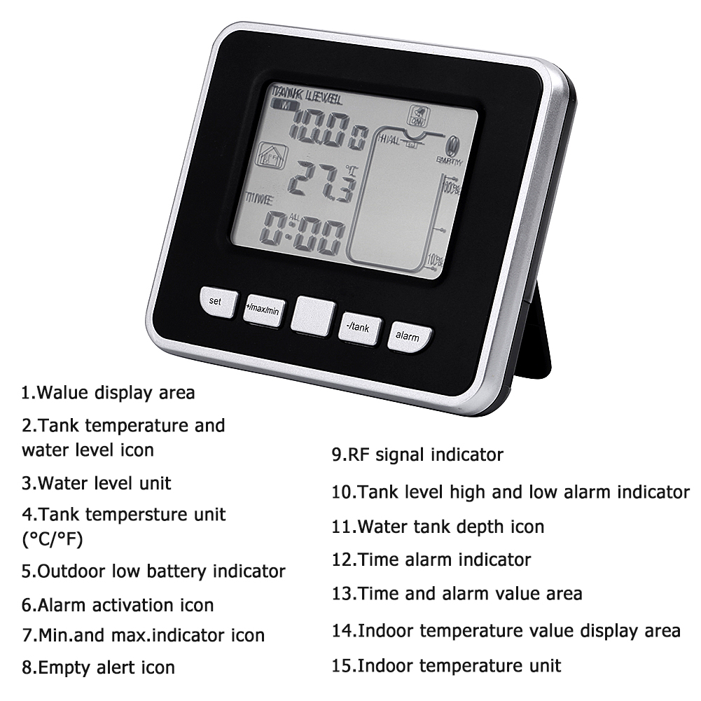 Walfront Ultrasonic Water Tank Liquid Depth Level Meter Sensor With Transmitter And Receiver Electronic Party Gear Temperature Display