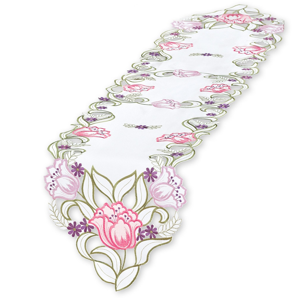 Embroidered Pink Tulips Table Linens, Runner, Multi by Collections Etc
