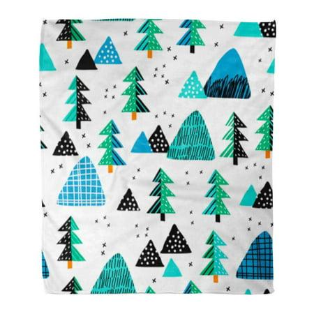 ASHLEIGH Flannel Throw Blanket Christmas Mountain Landscape and Forest Perfect Kindergarten Baby Children Room Scandinavian Tree 58x80 Inch Lightweight Cozy Plush Fluffy Warm Fuzzy Soft (Kindergarten Rugs)