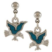 Stainless Steel Turquoise Inlay Eagle Dangle Earrings