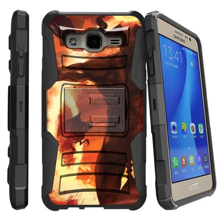 Samsung Galaxy On5 G550 Miniturtle® Clip Armor Dual Layer Case Rugged Exterior with Built in Kickstand + Holster - Demons and Flames](Demon Teeth)