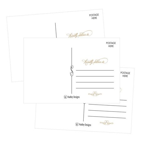 25 White Elegant Blank Postcards (Elegance Cards)