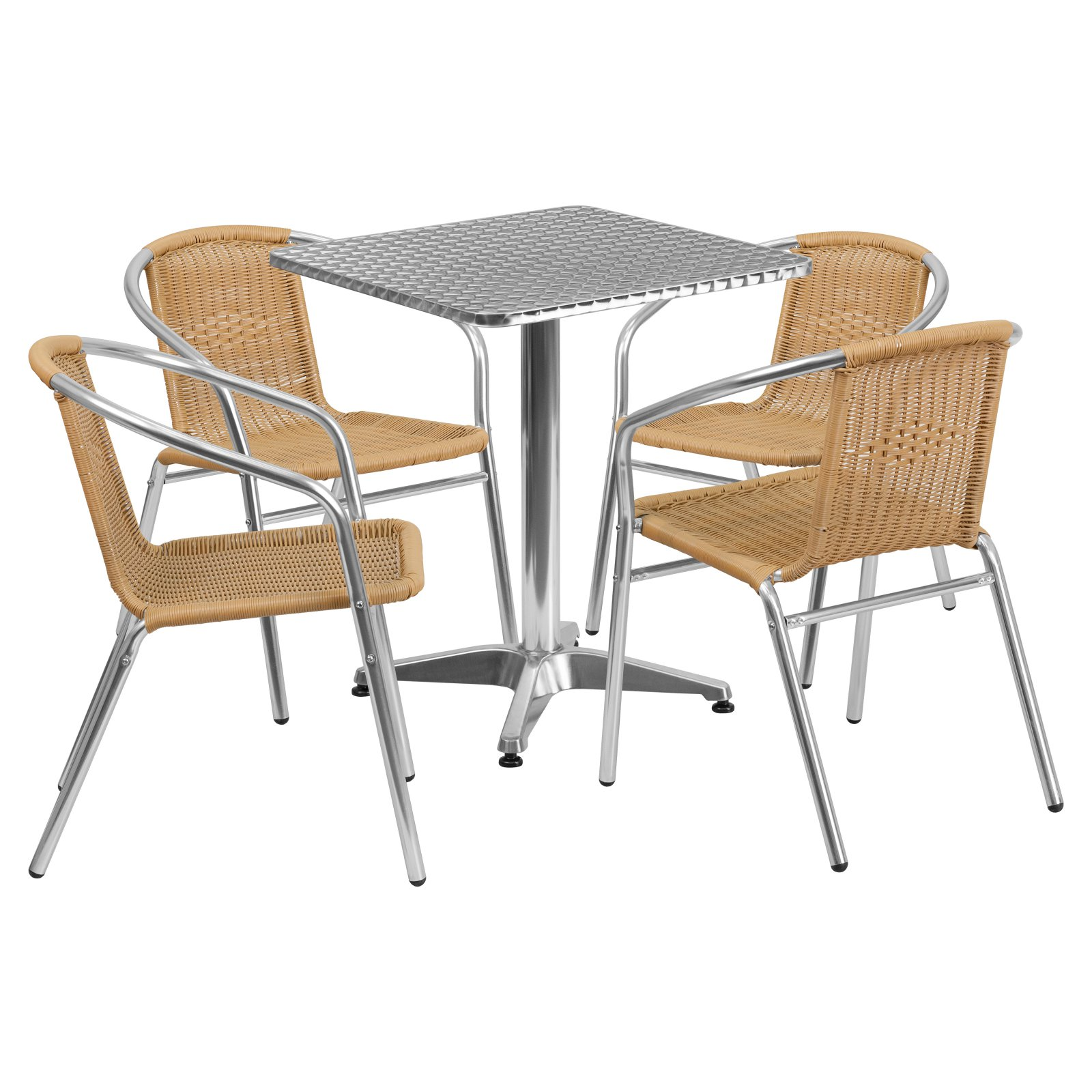 Flash Furniture 23.5'' Square Aluminum Indoor-Outdoor Table with 4 Rattan Chairs, Multiple Colors