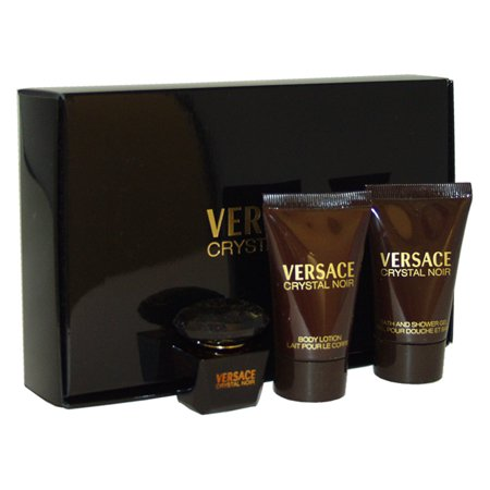 Versace Crystal Noir by Versace for Women - 3 Pc Mini Gift Set 5ml EDT Splash, 0.8oz Bath and Shower