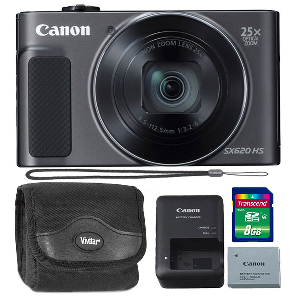 Canon PowerShot SX620 HS 20.2MP 25X Zoom Wifi / NFC  Full HD 1080p Digital Camera  (Black) with 8GB Memory Card + Case