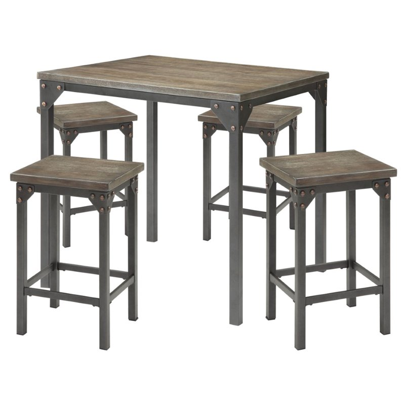 Percie 5-Piece Counter-Height Dining Set, Dark Antique Oak and Antique Black
