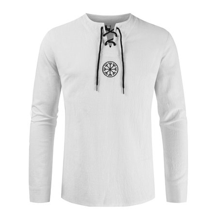 M-4XL Fashion New Men Plus Size Cotton Linen Shirt Henley Tops Casual Loose Long Sleeve Tee For Men Male Simple Round Neck Pullover Hippie Casual Style  White -