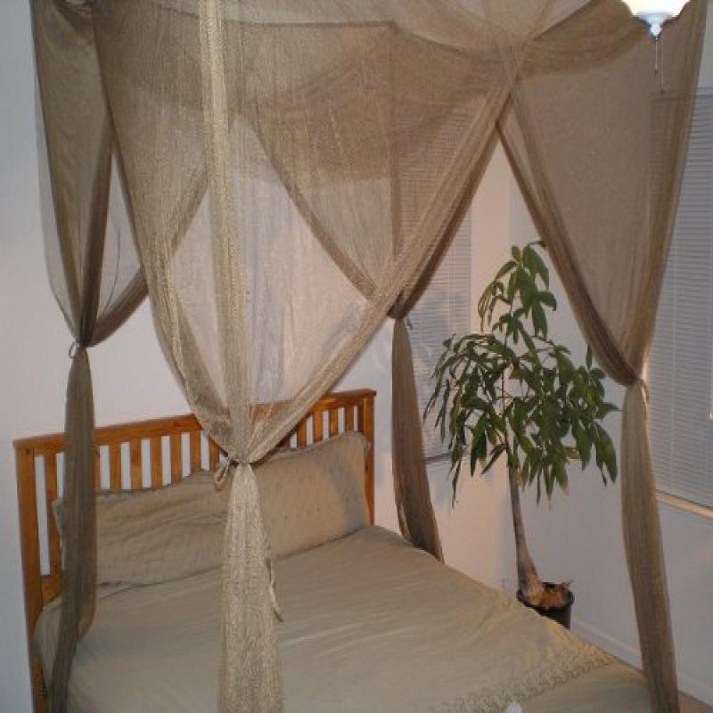 4 Poster / Four Corner Brown Bed Canopy Functional Mosquito Net Full Queen King