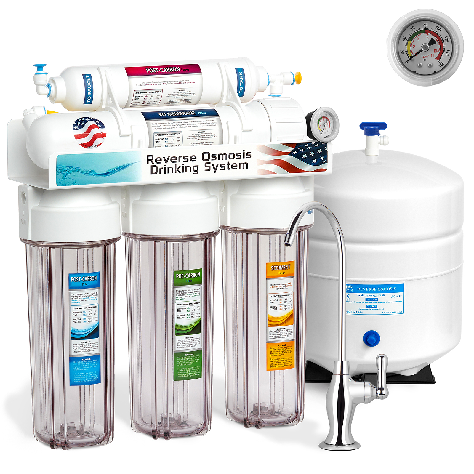 Express Water 5-Stage Undersink Reverse Osmosis Water Filter System Clear Pressure Gauge 50GPD - RO5DCG