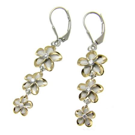 925 sterling silver 2 tone rose gold rhodium plated Hawaiian 3 plumeria leverback earrings cz ()