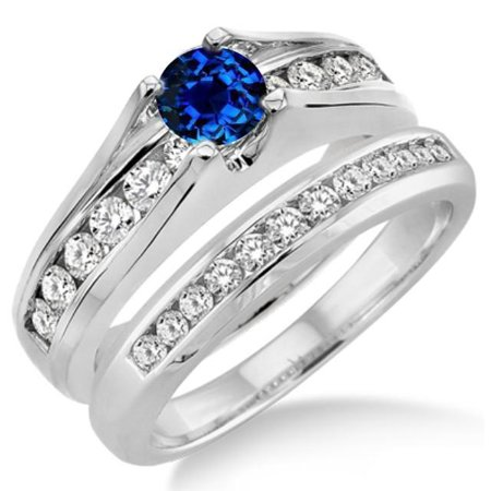 Beautiful 1.25 Carat Round Cut Real Sapphire and Diamond Bridal Wedding Ring Set with Engagement Ring and Wedding Band in 18k Gold Over Silver (Bridal Ring Sets With Sapphires)