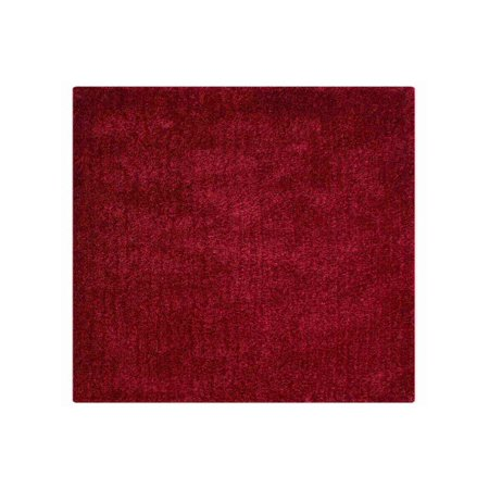 Hand Tufted Polyester Shag Square Area Rug Solid Red 8x8