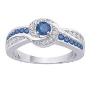 SHAH DIAMONDS INC 10k White Gold 2/3ct TDW Blue and White Diamond Engagement Ring