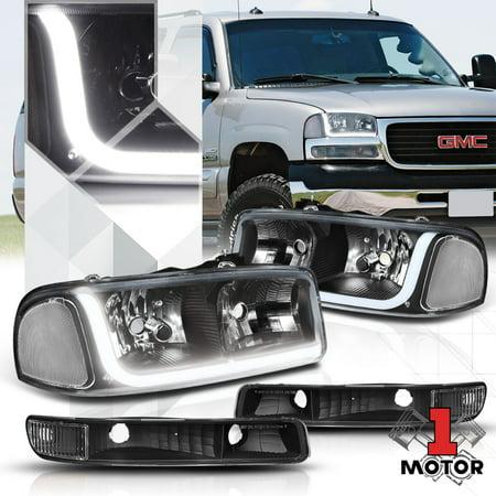 Black Housing Headlight Clear Signal LED DRL for 99-07 GMC Sierra/Yukon Classic 00 01 02 03 04 05 06