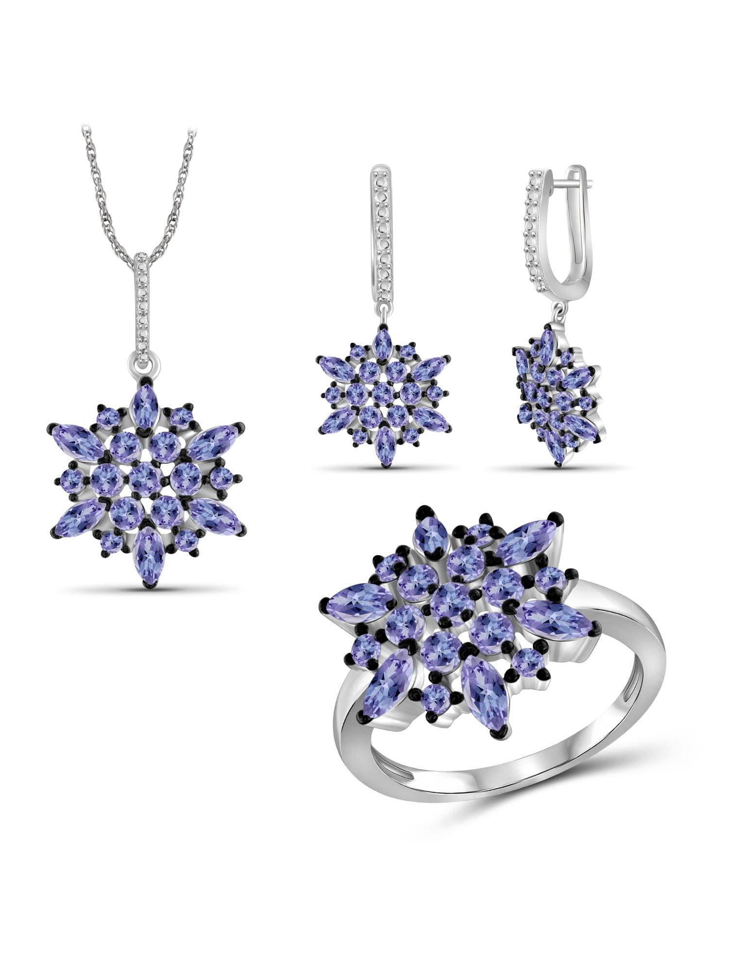 JewelersClub 6 1 4 Carat T.G.W. Tanzanite Sterling Silver 3-Piece Jewelry set by JewelersClub