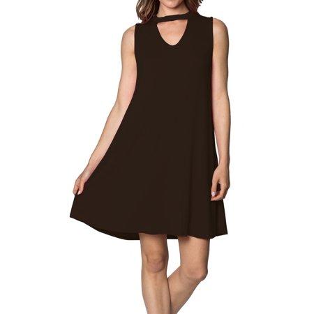 Velucci - Womens Sleeveless Tunic Swing Dress - Basic Casual loose Tank  Dresses 211adfd709