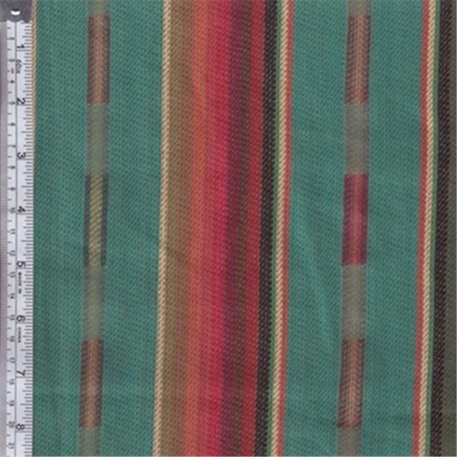 Textile Creations PB-127 Pueblo, Stripe With Dobby Teal Red Yellow