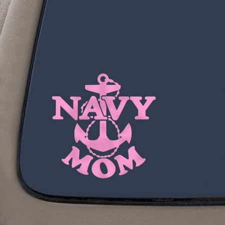 Navy Mom Military Car Window Wall Laptop Decal Sticker   Pink   5-Inches By 5-Inches   Car Truck Van SUV Laptop Macbook Wall Decals