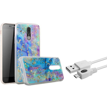 Insten Marble Glitter PC/TPU Rubber Case Cover For Coolpad Legacy (2019) (Bundle with Micro USB