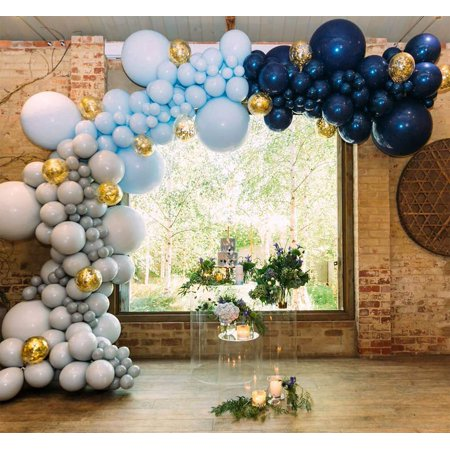 Blue Gray Balloons 50 pcs 12 Inch Gray Balloon Pack Navy Blue Balloons Baby Blue Balloons and Gold Confetti Party Balloons for Boy Baby Shower Decorations, Boy Birthday Decorations PartyWoo - Birthday Party For Boy