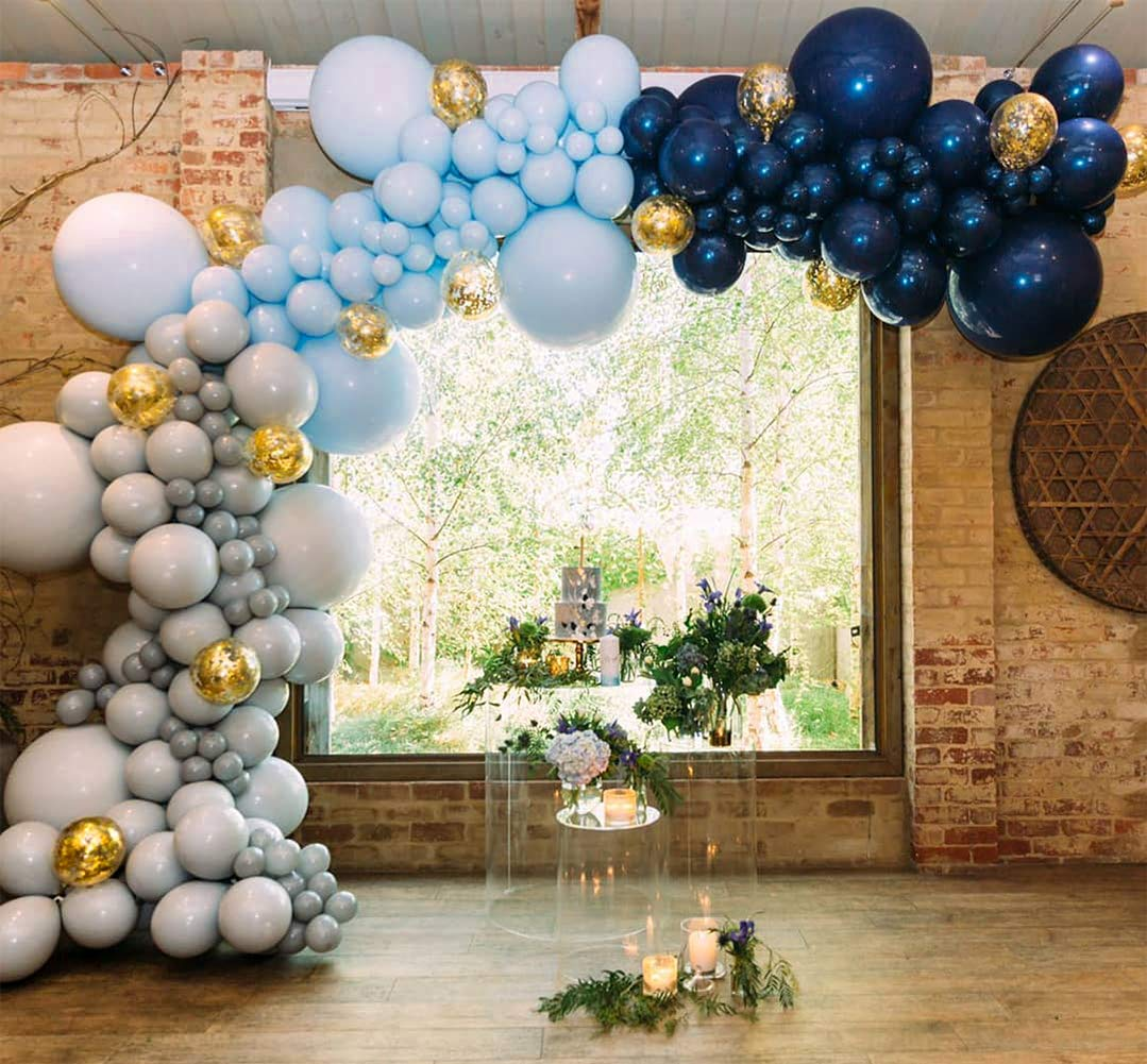 Blue Gray Balloons 50 pcs 12 Inch Gray Balloon Pack Navy Blue Balloons Baby Blue Balloons and Gold Confetti Party Balloons for Boy Baby Shower Decorations, Boy Birthday Decorations PartyWoo