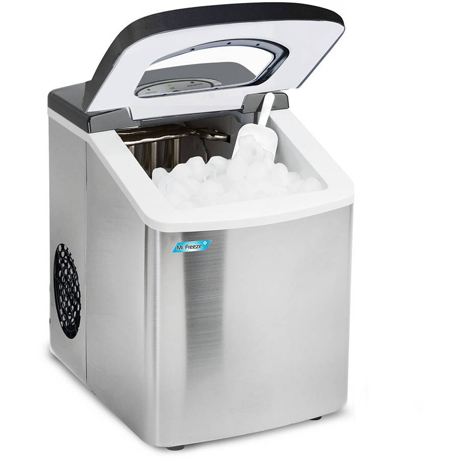 Maximatic Mr. Freeze Stainless Steel Compact Counter Top Portable Ice Maker -Makes 26 Pounds of Ice