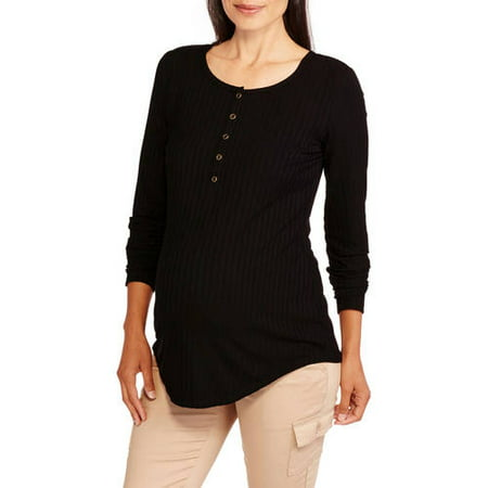 ef07af0bb2fc6 Inspire - Maternity Long Sleeve Ribbed Henley Top - Walmart.com