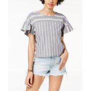 Women's Large V-Neck Ruffle Stripe Blouse L