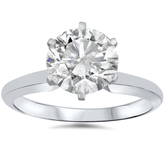 1 3/4ct Solitaire Round Clarity Enhanced Diamond Engagement Ring 14K White Gold