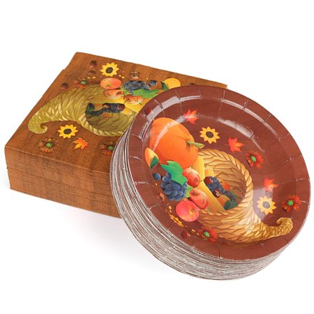 Thanksgiving Paper Plates and Napkins Set Service for 50, Cornucopia Theme](Thanksgiving Plates And Napkins)